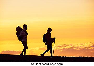 vandrare, solnedgång