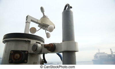 Vane anemometer on a ship board. - Vane anemometer against...