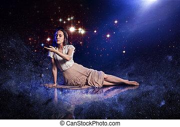 vangen, een, ster, jonge vrouw , dromen, om te, starry, sky., communie, van, dit, beeld, gemeubileerd, door, nasa.