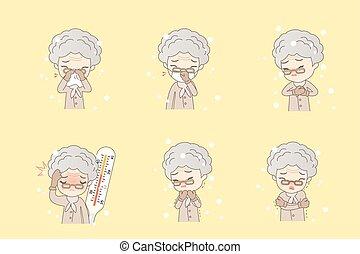 vangen, koude, vrouw, oud