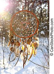 vanger, besneeuwd, met de hand gemaakt, colorfull, bos, ...