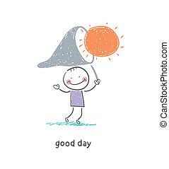 vangsten, sun., illustration., man