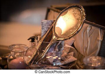 vanidad, damas, conjunto, espejo, clásico
