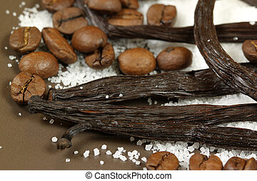 Vanilla and coffee beans