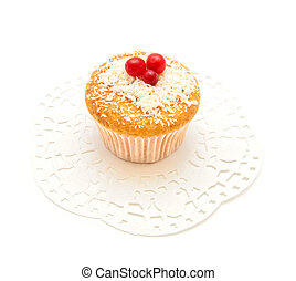 Vanilla cake with berries on a white background