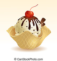 Vanilla Chocolate chip Ice cream with waffle basket