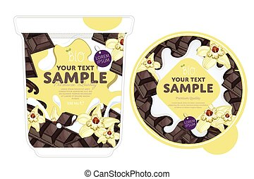 Vanilla chocolate Yogurt Packaging Design Template. Yogurt...