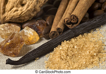 vanilla, cinnamon sticks and other spices and ingredients. Christmas cuisine