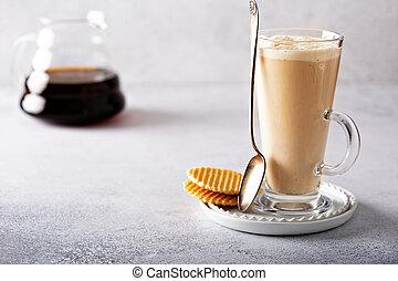 Vanilla coffee latte in a tall glass
