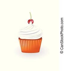Vanilla cupcake. vector illustration