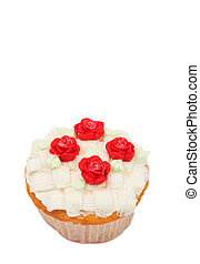Vanilla cupcake with basketweave icing and roses