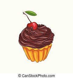 Vanilla cupcake with chocolate cream and cherry