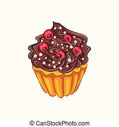 Vanilla cupcake with chocolate cream and red berry