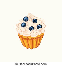 Vanilla cupcake with cream and blueberry isolated