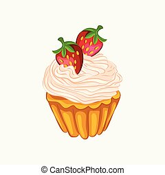 Vanilla cupcake with cream and strawberry isolated
