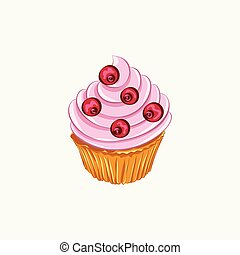 Vanilla cupcake with red berry whipped cream