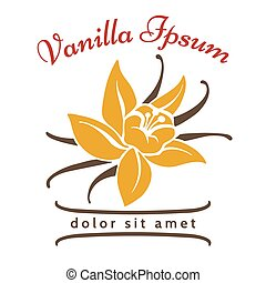 Vanilla dessert flavor logo. Vanillas aromatic flower and...