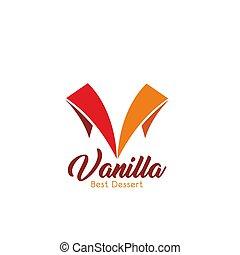 Vanilla dessert patisserie vector letter V icon - Letter V...