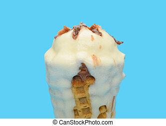 vanilla flavor ice cream cone melting on blue background