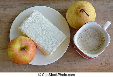 vanilla flavor milk cream cake and fruit with coffee