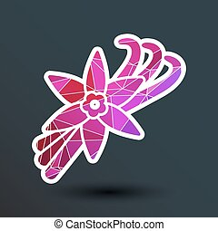 Vanilla flower and vanilla pods Vector Logo
