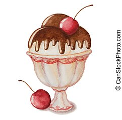 vanilla ice cream - Watercolor vanilla ice cream in a sundae...