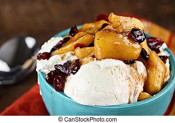 Vanilla Ice Cream with Apple Cranberry Sauce