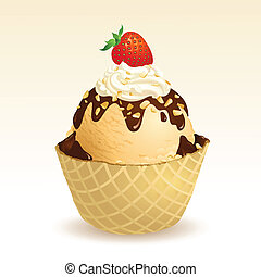 Vanilla ice cream with waffle basket, EPS10, This illustration contains transparency.