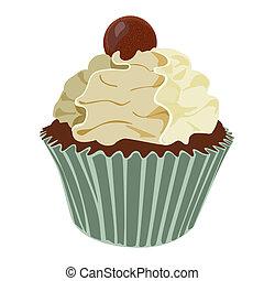 vanilla krém, cupcake