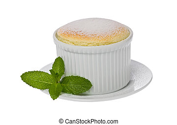 Vanilla Souffle - Single small vanilla souffle in a white...