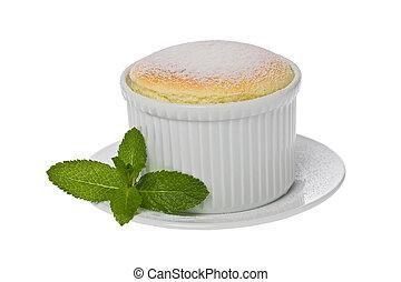 Vanilla Souffle - Single small vanilla souffle in a white...