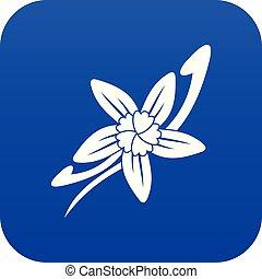 Vanilla sticks with a flower icon digital blue