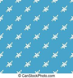 Vanilla sticks with a flower pattern seamless blue