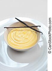 vanilla vanillepudding, gebäck, creme, mit, samen, stöcke