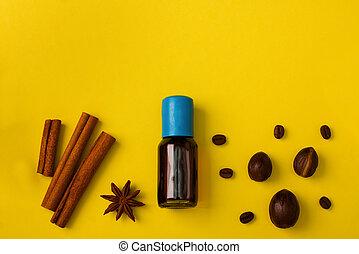 vanille, anis, épices, fond, muscade, cuisson, grains café, cannelle