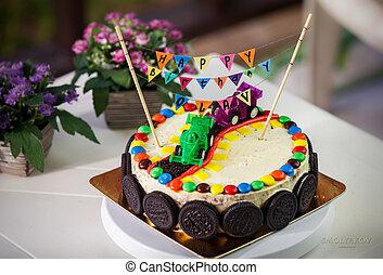 vanille, anniversaire, délicieux, gâteau, fête, enfants