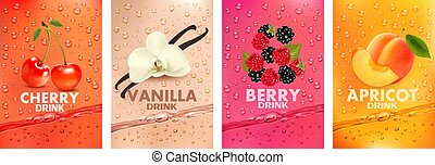 vanille, cerise, fruits, splashing., fruits., 3d, together-, irrigation, abricot, jus, framboise, étiquettes, fruit, frais, baie, mûres, ensemble, vecteur, drink., boisson, illustration