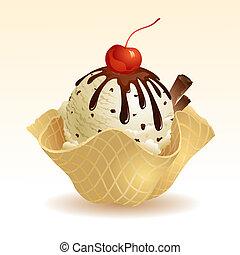 vanille, chocoladekleurig stukje, ijs