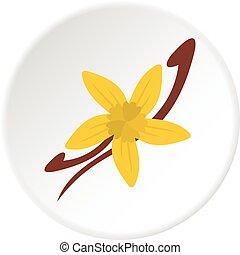 vanille, fleur, boîtiers, cercle, icône