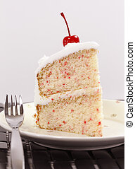 vanille, gâteau cerise, portion