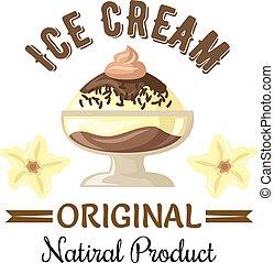 vanille, glace, sundae chocolat, écusson, crème