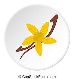 vanille, icône, fleur, boîtiers, cercle