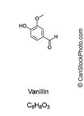 Vanillin, component of vanilla bean extract, chemical ...
