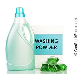 Vanish liquid in light green plastic bottle and bag isolated...