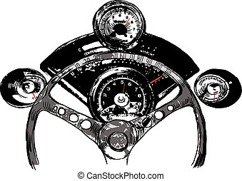 Vanishing Point, Freehand Sketching, Vector - Muscle Car ...