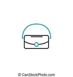 Vanity bag vector thin line stroke icon. Vanity bag outline illustration, linear sign, symbol isolated concept.