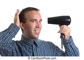Concept image of metrosexual male featuring a young male using a hair dryer to fix his hair nicely, isolated against a white background