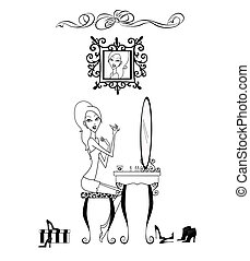 Vanity Girl - Fashion illustration of a pretty girl seated...