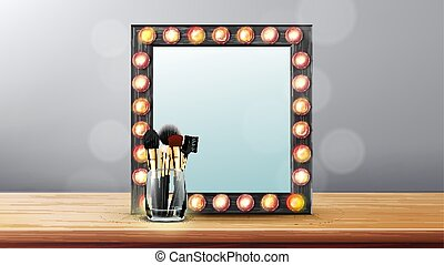 Vanity Mirror Vector. Makeup Vanity Frame. Dressing Woman Concept. Backstage Room. Illustration