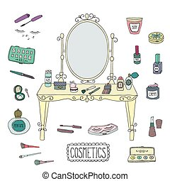 Vanity table with mirror and makeup. Vector.